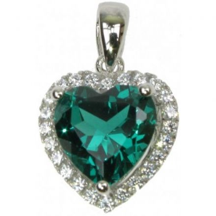 Emerald,Cubic Zirconia Pendant,18 inch chain, Sterling Silver